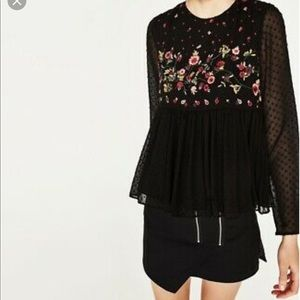 NWOT Zara boho floral embroidered sheer black top